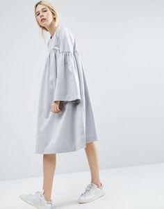 ASOS WHITE Midi Dress With Split Sleeve Detail