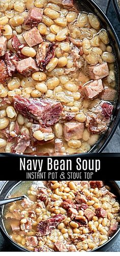 easy Instant Pot Navy Bean Soup is an old fashioned recipe for a delicious soup made with a hamhock, ham, and navy beans. It's a creamy, flavorful bean soup that's the best way to use up leftover ham after Easter, or Christmas dinner. Crock Pot Recipes, Bean Soup Recipes, Cooking Recipes, Healthy Recipes, Chicken Recipes, Navy Bean Recipes, Beef Recipes, Recipies, Recipe For Bean Soup