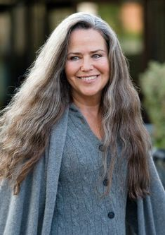 Koo Stark and her long gorgeous gray hair