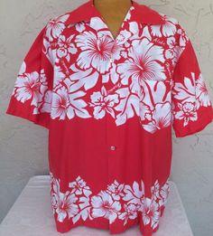 Men's Hawaiian Shirt Short Sleeve White Hibiscus Size L Melon Made in USA 1970s #AiKane #Hawaiian
