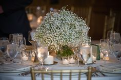 Babies Breath Centerpiece by Plum Gallery Floral and Events