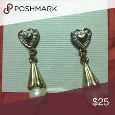 Heart and pearl earrings Gold and silver heart and pearl earrings Jewelry Earrings