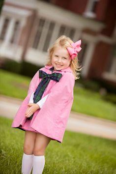Callahan Cloak - Hamptons Hot Pink with Travers Tartan Bow $89