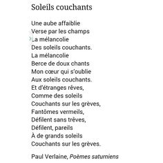 PAUL VERLAINE | SOLEILS COUCHANTS | 1866 | POÈMES SATURNIENS | #PaulVerlaine . French Poems, French Quotes, English Quotes, Word Line, Story Poems, Lines Quotes, Lectures, Learn French, Beautiful Words