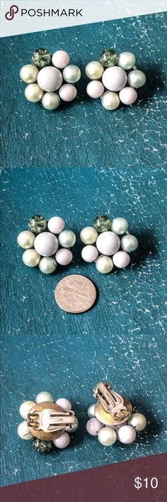 Vintage Bead Cluster Clip On Earrings Beautiful pale green and blue Faux Pearl Clip On Earrings. Vintage costume jewelry earrings. Vintage Jewelry Earrings