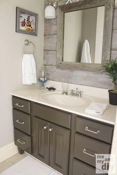 Gray Painted Cabinets | Benjamin Moore Thunder Gray Bathroom Paint Color. Love the barnboard backsplash!