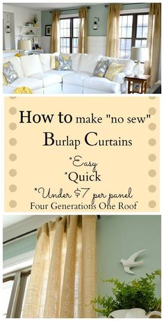 How to make no-sew burlap curtains that are so easy and SO inexpensive!  With Four Generations One Roof
