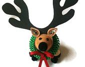 Reindeer Christmas Ornament Paper Quilled with Wreath
