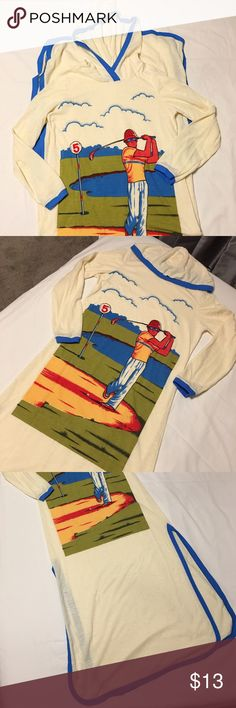 """🔮Vintage🔮 golf themed hooded sleeper snuggy 3/4 sleeve sleeper with hood. Poly/cotton blend fabric with mid thigh slits on each side. Size S/XS. Approximately 48"""" in length. Vintage Intimates & Sleepwear Pajamas"""
