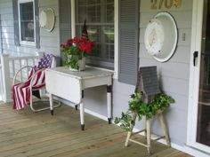 Old Porch Primitives | On the other side of the door is an old table the neighbor was going ...