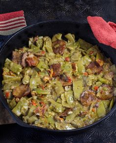 INGREDIENTS 8 strips smoked bacon, chopped 1 cup loosely packed sliced andouille sausage or smoked pork sausage ½ cup diced yellow onion ¼ cup diced celery 2 tablespoons diced red bell pepper 2 tab...