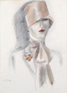 Woman in a Red Hat (1926) by Dodo Burgner (Dörte Clara Wolff) - (1907-1998) - (wooleyandwallis)