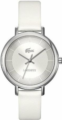 Lacoste Women's White 'Nice' Leather Watch - 2000716 Lacoste. $148.50. Stainless Steel Case. Water Resistant 30 Meters. Leather Band. Quartz Movement. Women's 'Nice' Watch by Lacoste. Save 20% Off!