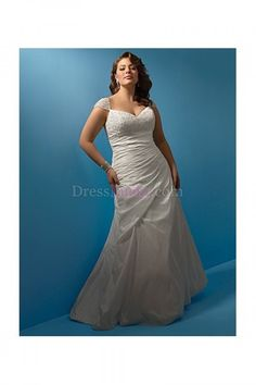 White A-Line/Princess Off The Shoulder Short Sleeve Long/Floor-length Hall Wedding Dresses WD23AC