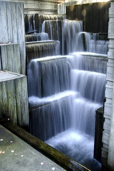 Freeway Park in Seattle - urban cascades This waterfall is built over the top of the freeway, I-5.