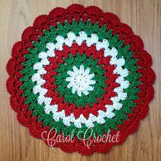 Sousplat de crochê Natal - Vermelho | Carol Crochet | Elo7