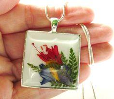 Spring Garden Pressed Flowers in Resin on by PressedFlowerJewelry