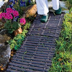Don't get muddy feet! Roll out an instant pathway in your garden. Wood-Look Rubber Walkway.