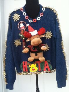 Ugly Christmas Sweater Singing and moving Reindeer