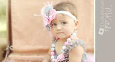 The Vintage Pink and Grey Romper with Headband-Barefoot Sandals, Feathers, First Birthday, Smash Cake, Photo Prop, Newborn, Baby