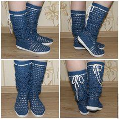 """Обувь ручной работы. Ярмарка Мастеров - ручная работа. Купить Сапожки """"Джинс"""". Handmade. Синий, Сапожки, хлопок 100%, подарок"""