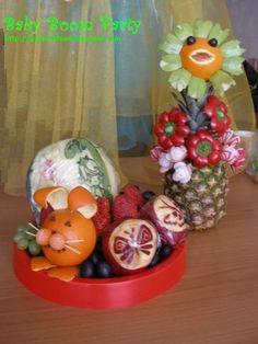 Fruit Carving Arrangements and Food Garnishes: Kids Go Party. Cute Fruit Sculptures