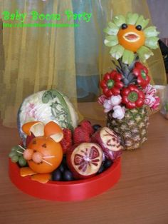 Fruit Carving Arrangements and Food Garnishes: Kids Go Party. Cute Fruit Sculptures