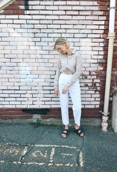 Vintage Button Down / Abstract Print Top / Neutral Top / Monochromatic Neutral / Button Down / Long Sleeve Button Down by itsMagari on Etsy Neutral Tops, Duster Jacket, Oversized Jacket, Blouse Vintage, Vintage Buttons, Abstract Print, Boho Dress, Button Downs, White Jeans