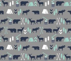 Camping Fabric - Woodland Camping Boys Nursery Grey Mint Navy Blue Kids Outdoors Bear Tent Wood Trees Forest by charlottewinter - Printed on Basic Cotton Ultra Fabric by the Yard Grey Nursery Boy, Woodland Nursery Boy, Mint Nursery, Bear Nursery, Nursery Fabric, Woodland Baby, Nursery Room, Nursery Ideas, Lucas Nursery