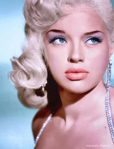 "colorized-toshio: Diana Dors (23 October 1931 – 4 May 1984) was an English actress, born Diana Mary Fluck in Swindon, Wiltshire. Considered the English equivalent of the blonde bombshells of Hollywood, Dors described herself as ""the only sex symbol Britain has produced since"