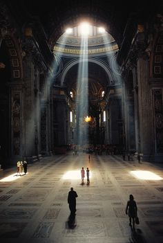 3 shafts of sunlight illuminate the Basilica & its mosaic floor in the Vatican, Rome, Italy (Albert Moldvay, National Geographic, Dec Visit Rome, Vatican City, The Vatican, Place Of Worship, Kirchen, Belle Photo, Sunlight, Places To Go, Beautiful Places