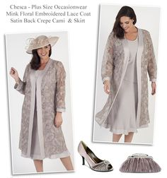 chesca mink lace occasion coat with satin back camisole and matching bias cut skirt Mother of the Bride autumn or winter wedding styles