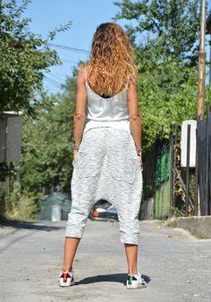 Autumn Loose Grey Harem Pants Drop Crotch Maxi 7/8 Pants