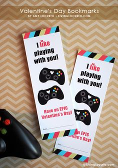 Printable xBox Video Game Valentine Bookmarks by Amy Locurto at LivingLocurto.com