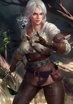 Cirilla Fiona Elen Riannon The Witcher The Witcher Wild Hunt white hair video games fantasy girl The Witcher Art, The Witcher Books, The Witcher Wild Hunt, The Witcher Geralt, Fantasy Female Warrior, Fantasy Women, Fantasy Girl, Character Portraits, Character Art