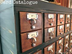 i love these!! and apothecary storage and blue print storage cabinets!!