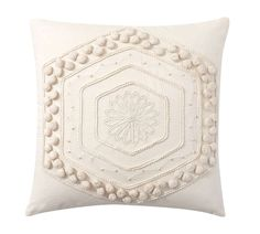Pottery Barn; Pom Pom Embroidered Pillow, white