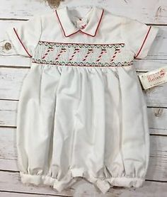 New House of Hatten Smocked Candy Cane Christmas One Piece Romper Baby Boy 3 6M | eBay