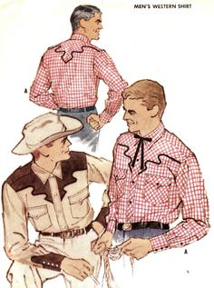 Vintage 1959 Mens Western Shirt Size 14-14 1/2 McCalls 2366 Sewing Pattern Cowboy Button Down 1950s 50s. $10.00, via Etsy.