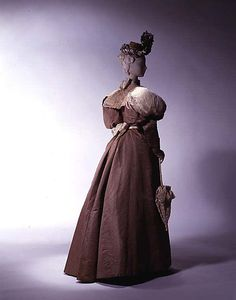 Dress by House of Worth, silk and lace. c. 1890, French.