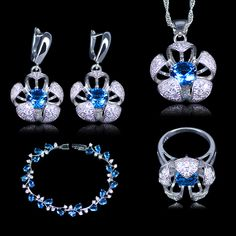 L&B Silver color New Design 3D Flower Sky Blue Austrian Crystal White Zirconia 925 Stamp Jewelry Sets //Price: $19 & FREE Shipping //   djooli   #Jewelry