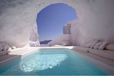 In this cave pool in Satorini, Greece.