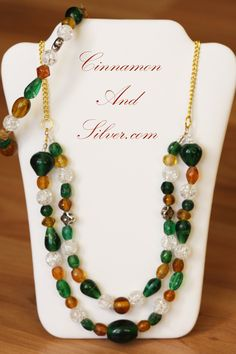 Forest Green and Gold Glass Bead Fall Necklace, Autumn Glass Beaded Two-Strand…