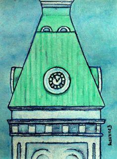 Royal Military College Clock ~ Horloge - Painting, in by Suzanne Berton - Painting Kingston Ontario, Conceptual Art, Big Ben, My Photos, Original Art, Art Gallery, Clock, Canada, College