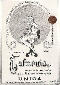PUBBLICITA  ORIGINALE 1926 UNICA TALMONE CARAMELLE TALMONIA TORINO LIBERTY