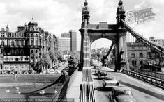 Photo of Hammersmith, The Bridge from Francis Frith St Peter's Church, Over The River, Suspension Bridge, Greater London, River Thames, London Life, Local History, Photo Archive, British Isles
