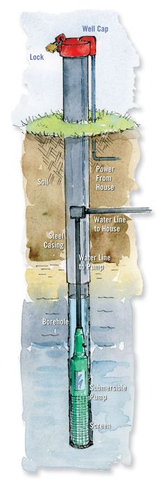 Long and narrow, drilled wells are the only option for getting water out of bedrock. Learn more about well construction and regulations in your area from your local health department. Illustration by Elayne Sears. From MOTHER EARTH NEWS magazine. Water Well Drilling, Detail Architecture, Water Collection, Mother Earth News, Water Sources, Water Systems, Hydro Systems, Homestead Survival, Survival Prepping