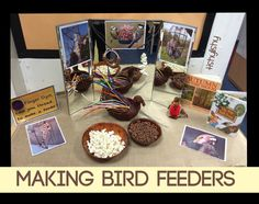 Make a bird feeder with popcorn and cereal.