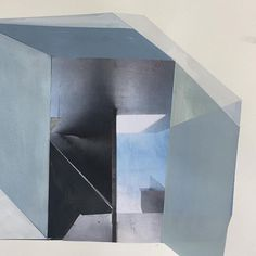 """Flashback"" mixed media on paper, 2017 #workonpaper #contemporaryart #minimalism #papier #canadianart #geometricart #antoniettagrassi #blue #grays #mixedmedia #mixedmediacollage #abstractart"