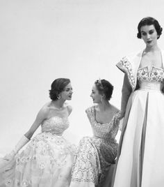 Models wearing Norman Hartnell for Vogue,1953. Photographed by Norman Parkinson